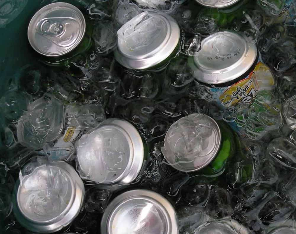 cold cans in a patio cooler