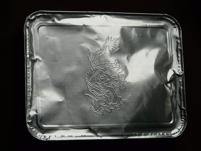 an aluminum foil pan used as a smoking box
