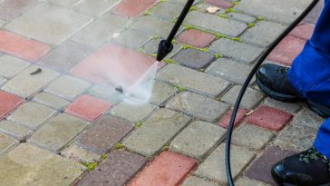 power washing a brick patio