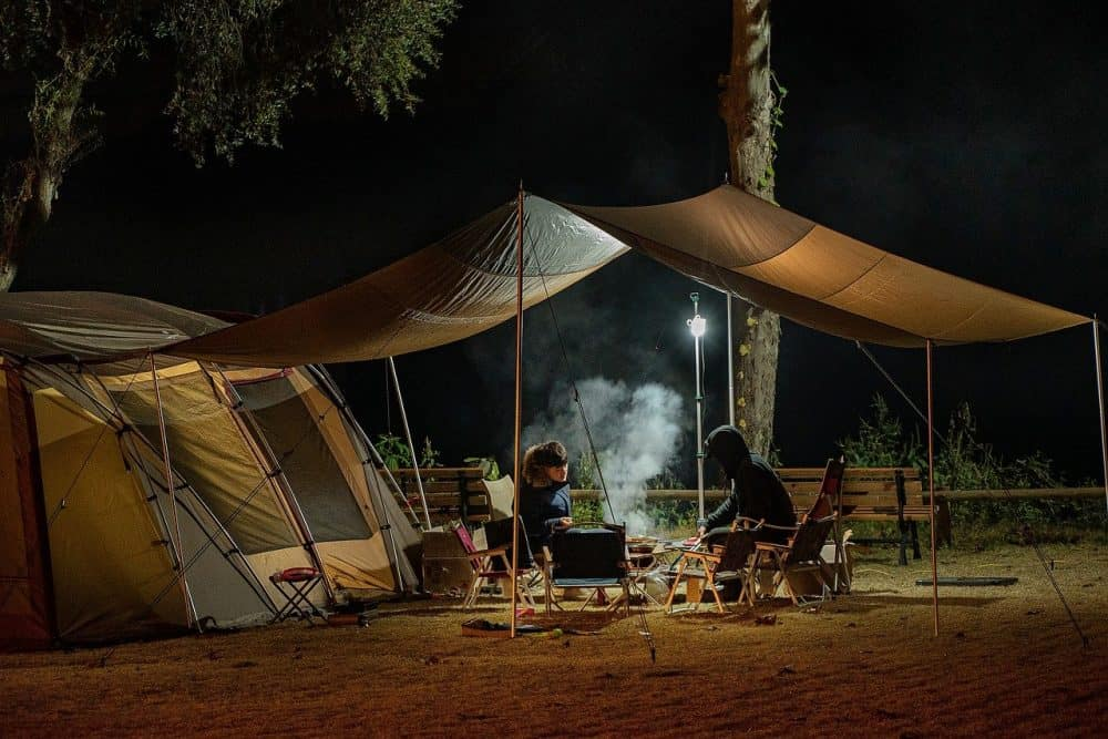 camping with an infrared grill