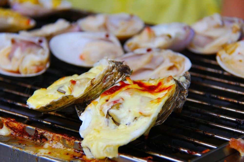 smoking oysters on a grill