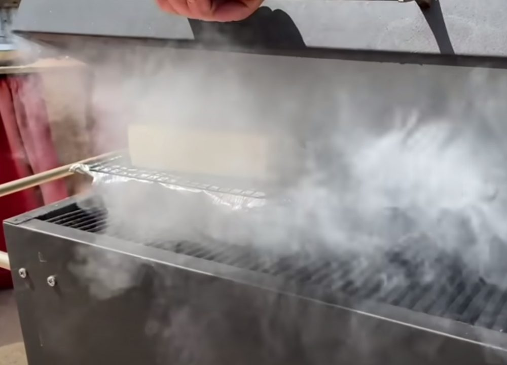 smoking gouda cheese on a grill