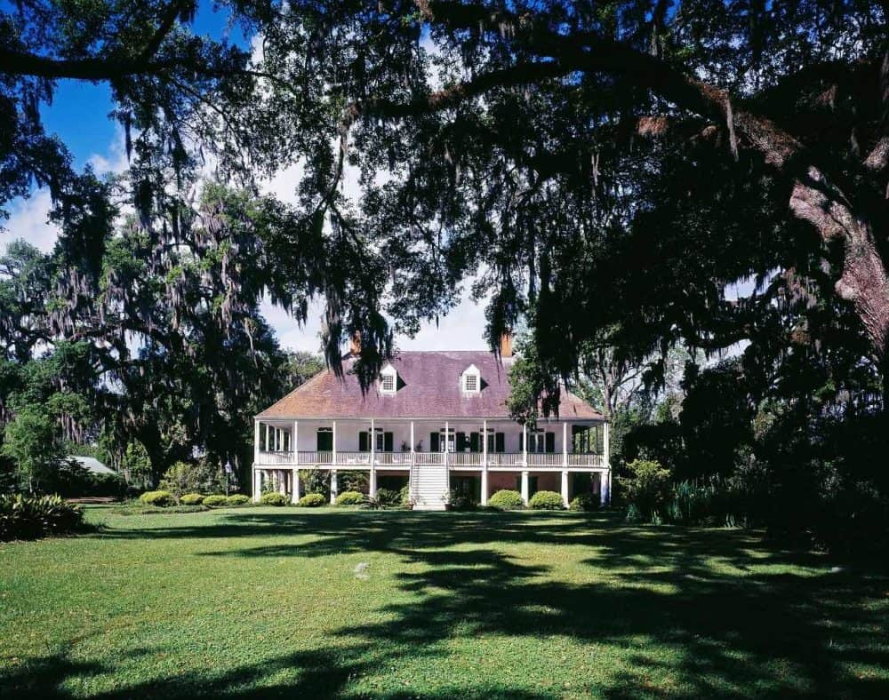 a southern plantation home with newly planted grass