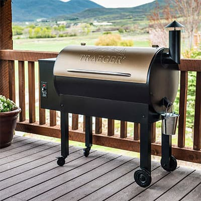 a traeger grill full of wood pellets