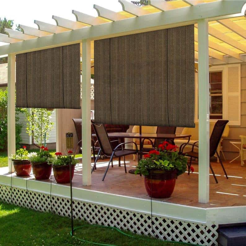 Roll up patio shades for backyard