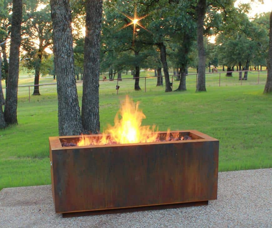 weathered steel rectangular fire pit