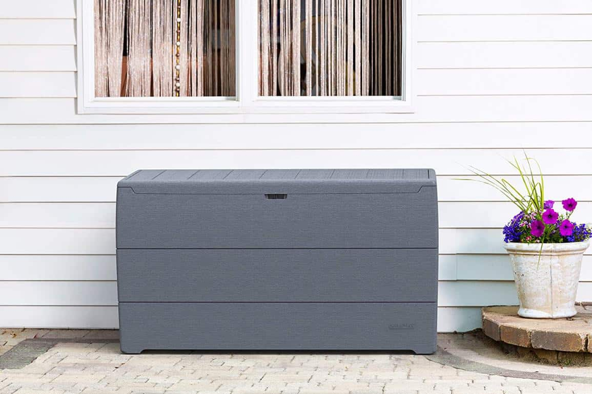 Gray resin outdoor storage bench
