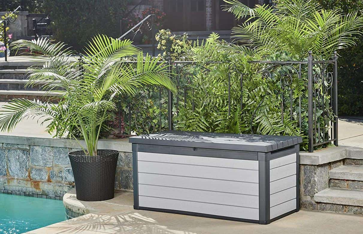 gray and black resin outdoor bench with storage option