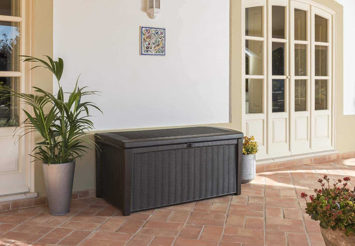 brown outdoor bench with storage
