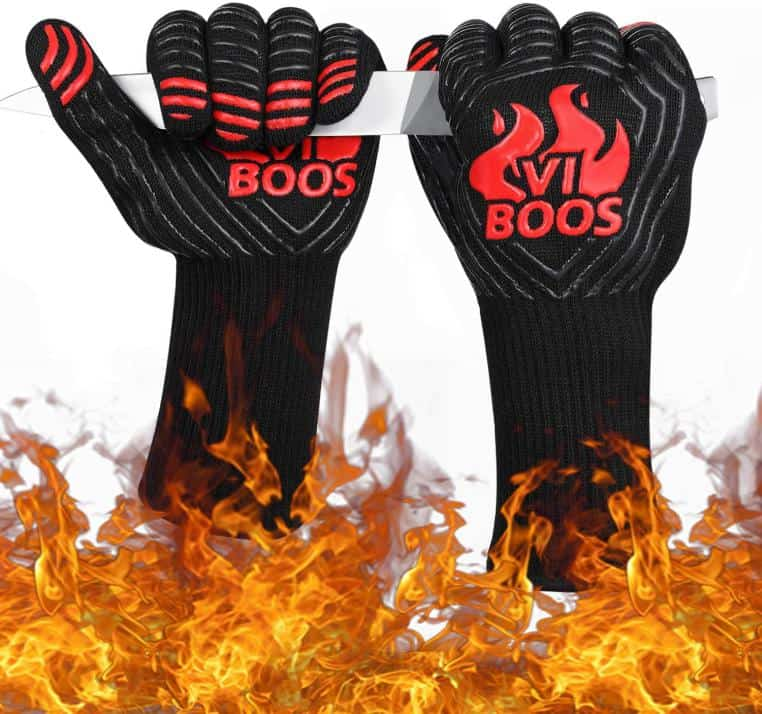 Synthetic Grilling Gloves coming out of flames