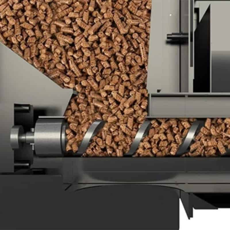 wood pellets in a pellet grill hopper