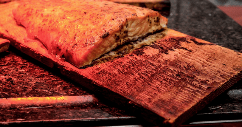 a charred cedar plank for grilling