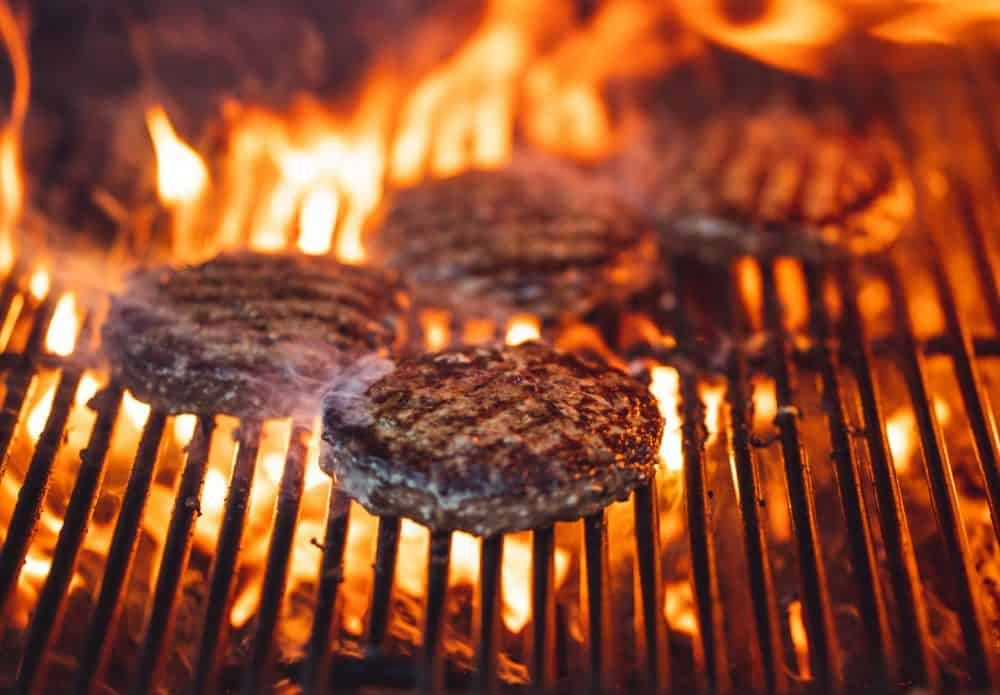 burgers cooked over direct heat