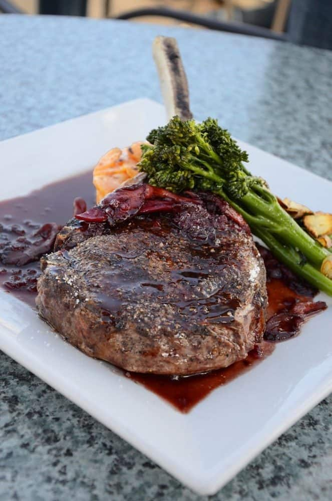 a smoked lamb chop with a balsamic butter sauce