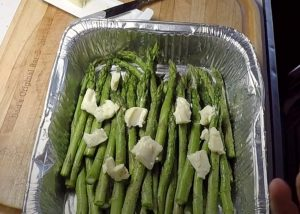 butter on asparagus before going on smoker