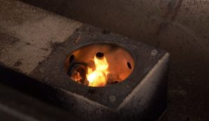 fire pot igniting on a traeger pellet grill