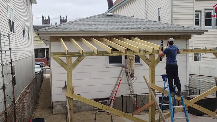 building a patio cover with corrugated metal roof