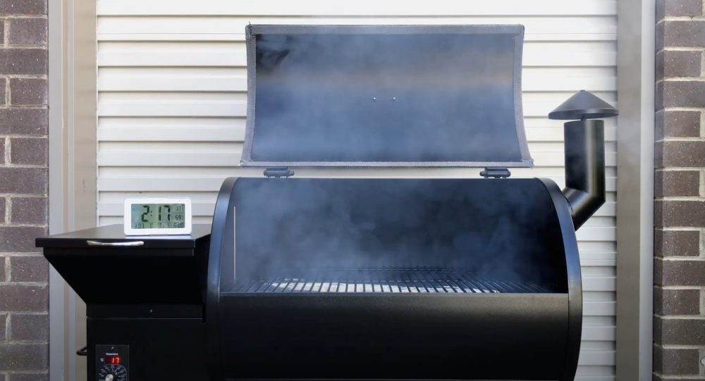 a pellet grill working