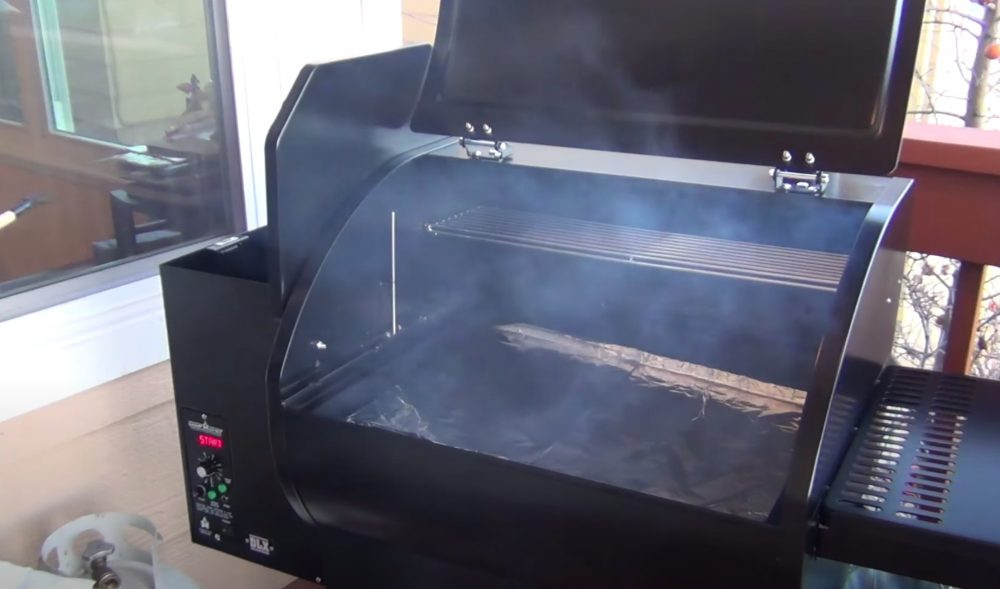 starting up a pellet grill to cook a turkey breast