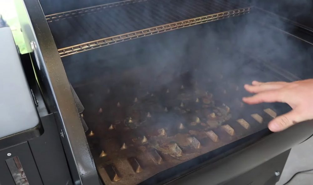 positioning the grease trap on a camp chef pellet grill