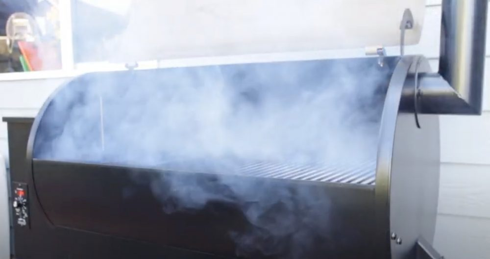 a traeger grill starting to make smoke