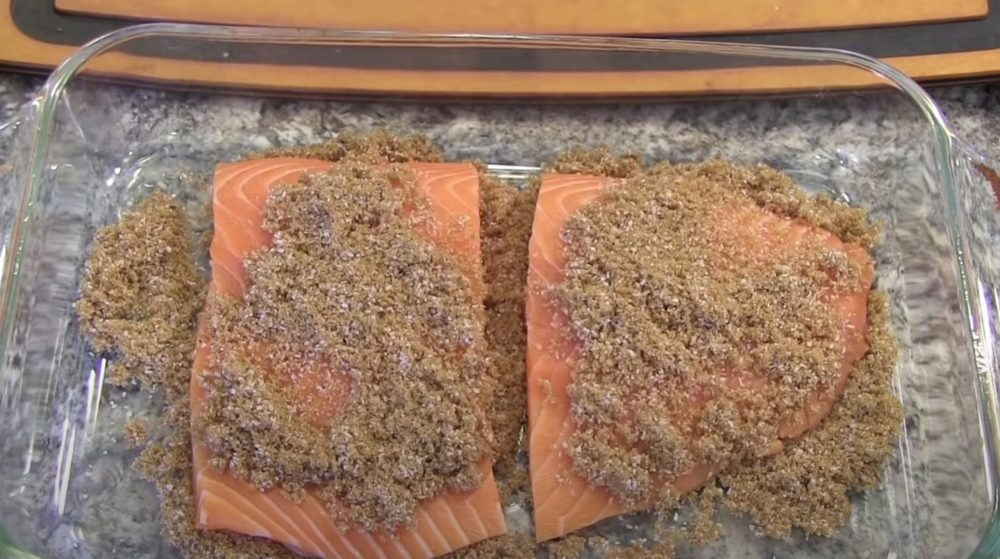 brine mixture on top of salmon fillets