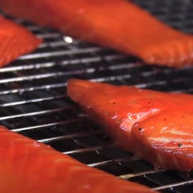 honey smoked salmon on a pellet grill