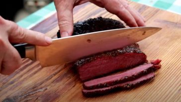 slicing smoked corned beef