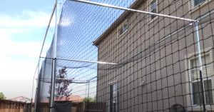 netting going up when building a backyard batting cage