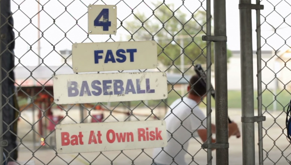 an outdoor batting cage