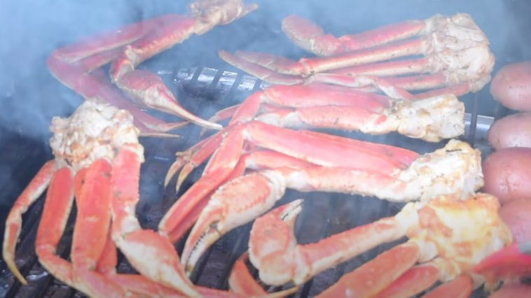 smoked crab legs on a grill