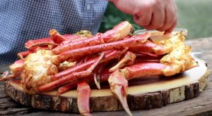 a finished plate of smoked crab legs