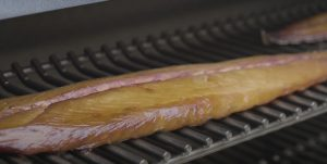 smoked mackerel on a grill